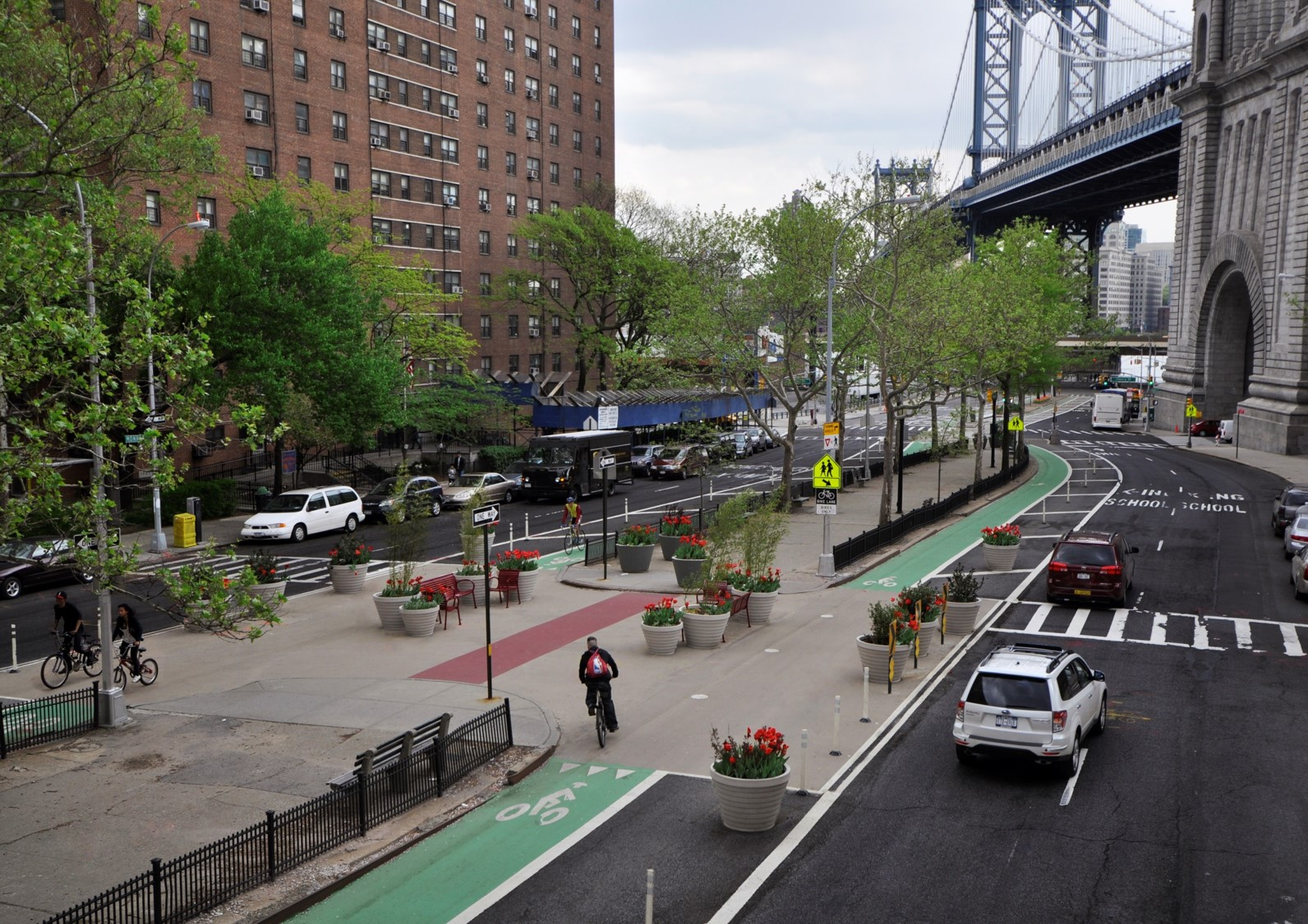 Complete street with bike lanes and sidewalks