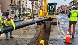 Water main construction new pipe